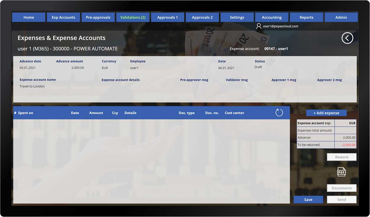 pepas cloud advanced expense manager add expense 2