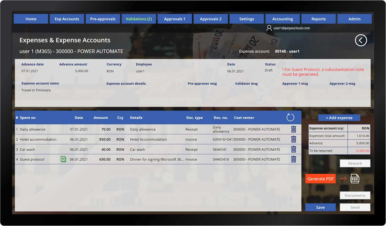 pepas cloud advanced expense manager add expense 4