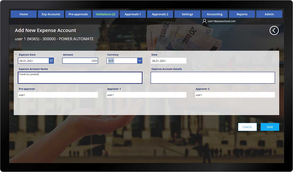 pepas cloud advanced expense manager add
