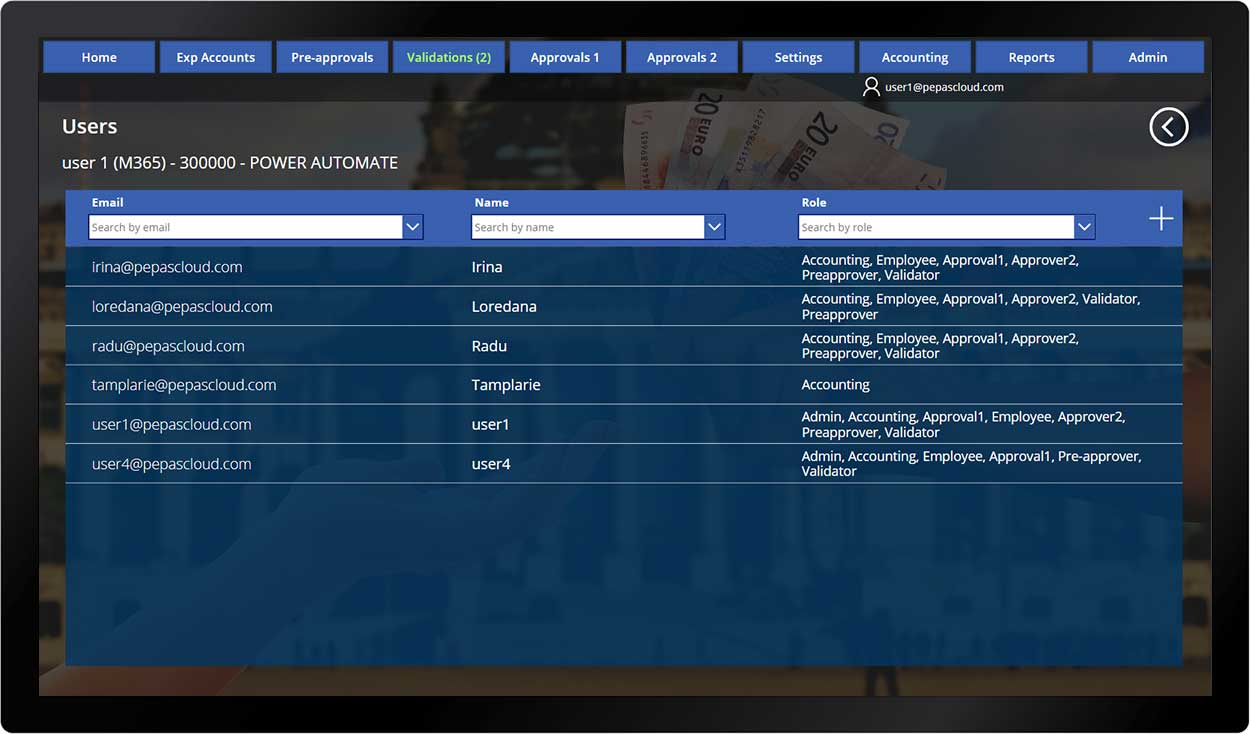 pepas cloud advanced expense manager user